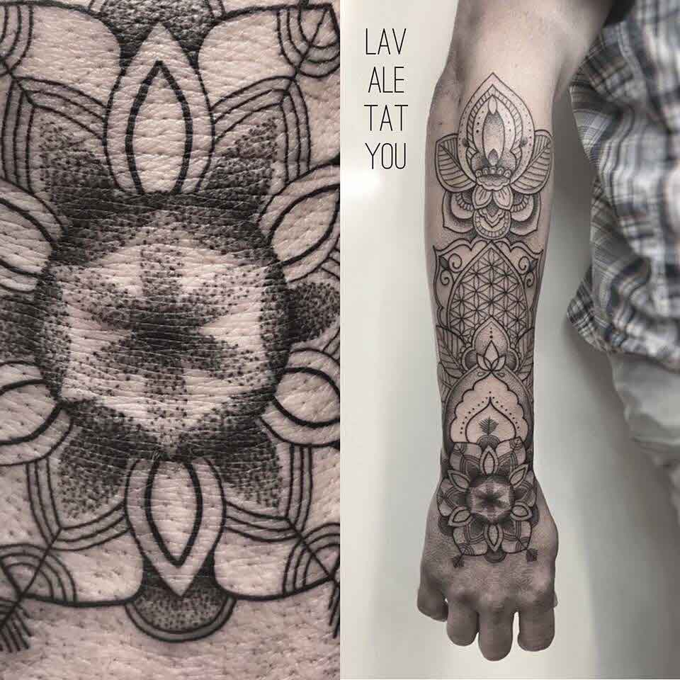 dotwork mandala tattoo sleeve