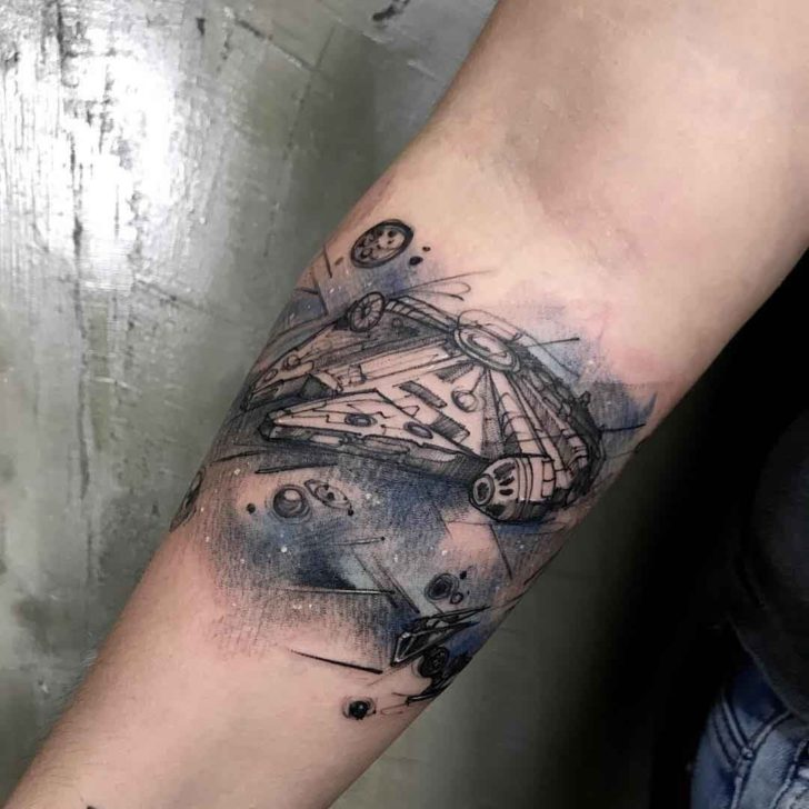 star wars tattoo millenial falcon