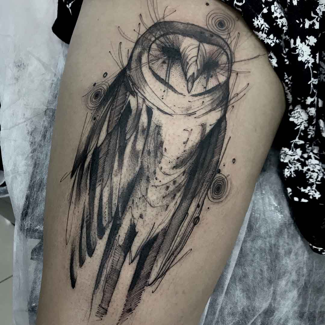 grey owl tattoo