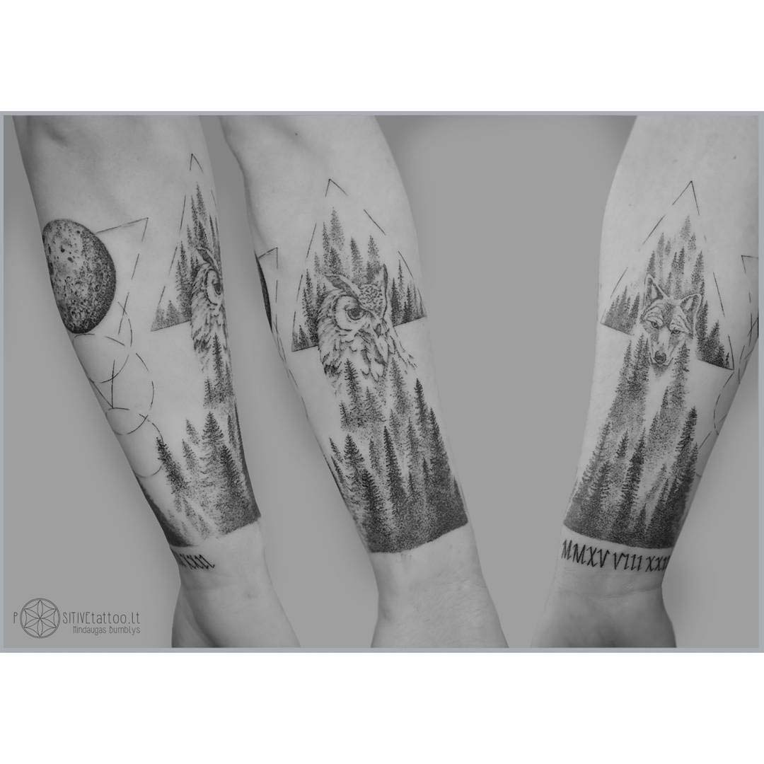 forest tattoos wolf and owl