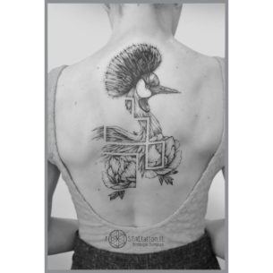 Peacock Back Tattoo