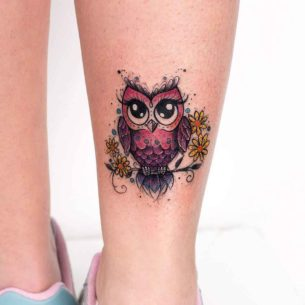 Pink Owl Tattoo
