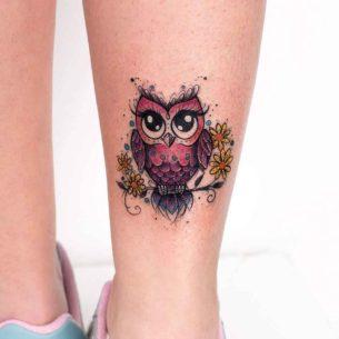 Pink Owl Tattoo