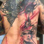 Ravens Trash Polka Tattoo on Back