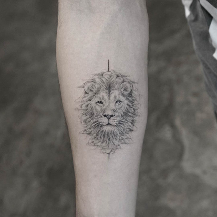 arm tattoo lion head