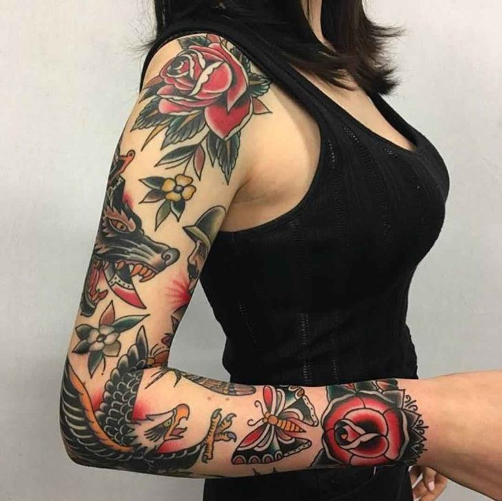 traditional sleeve tattoo best tattoo ideas gallery. Black Bedroom Furniture Sets. Home Design Ideas