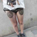 Two Mandala Tattoos on Thighs
