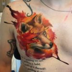 Watercolor Fox Tattoo on Chest