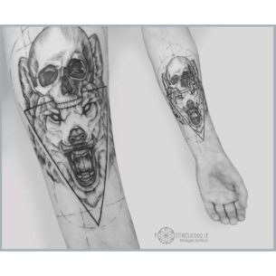 Wolf and Skull Tattoo on Arm