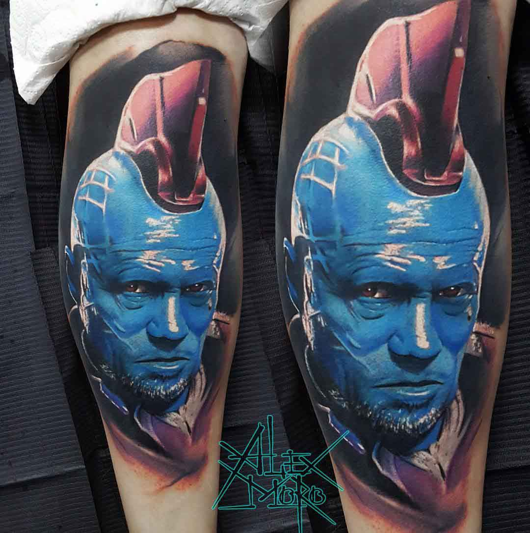 realistic portrait taqttoo Yondu of The Guardians of the Galaxy