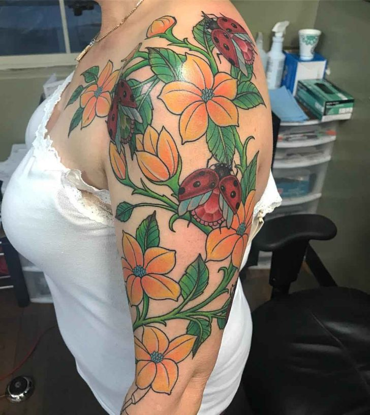 Dimond Ladybugs Tattoo in Flowers