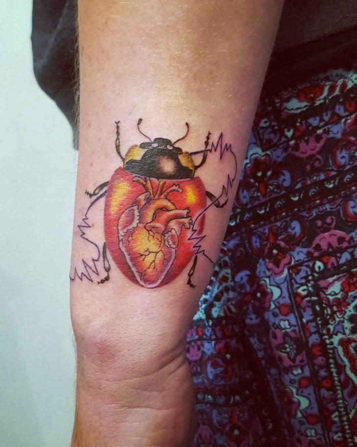 Heart Ladybug Tattoo
