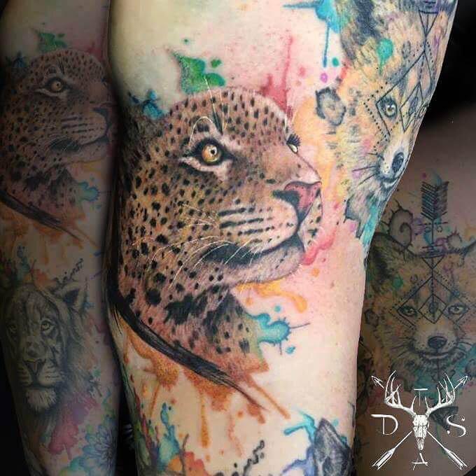 Watercolor Cheetah Tattoo