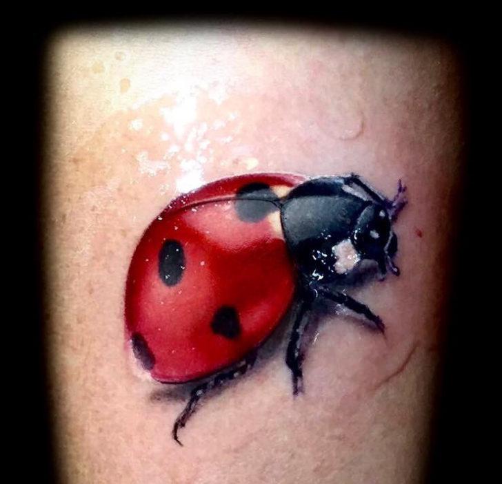 Realistic Ladybug Tattoo