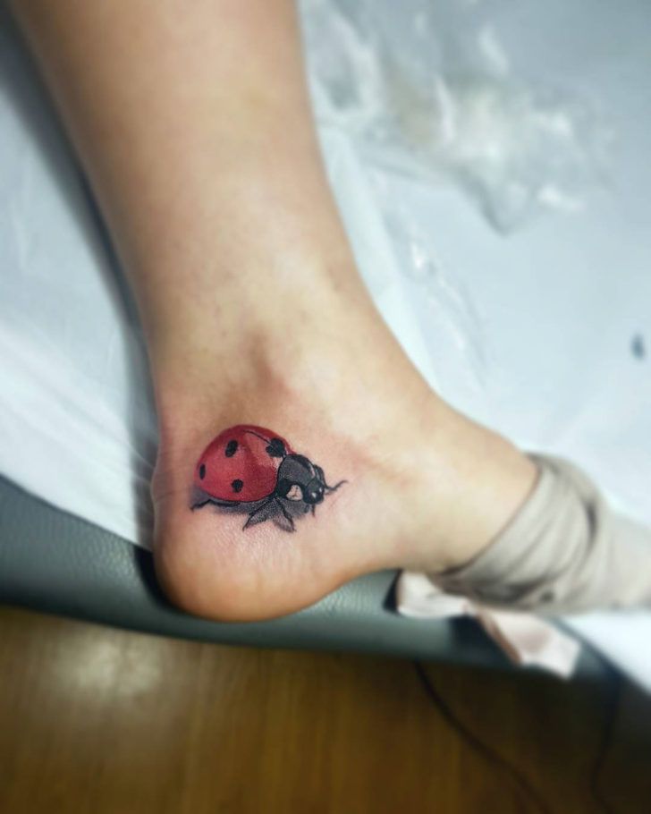 Ladybug Tattoo on Heel