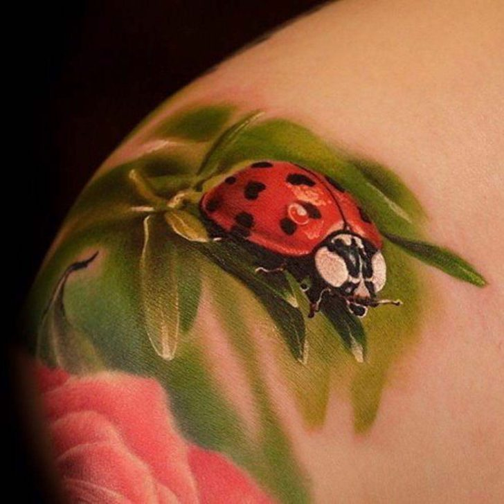 Realistic Ladybug Tattoo on Shoulder
