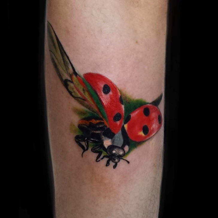 Arm Tattoo Flying Ladybug