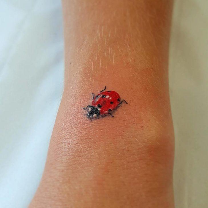 Tiny Realistic Ladybug Tattoo