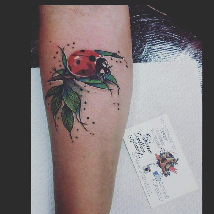 Tattoo Ladybug on Leafs