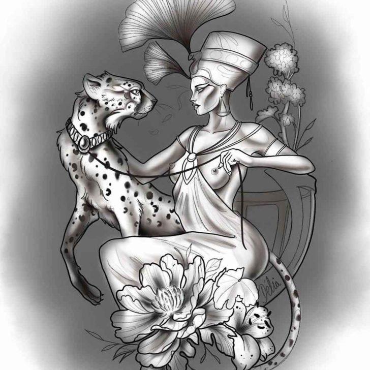 Egyptian Cheetah Tattoo Design