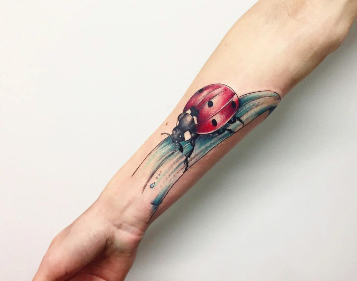 Ladybug on Grass Tattoo