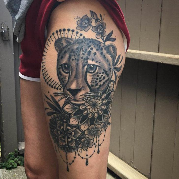 Black and Grey Cheetah Tattoo
