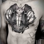 Alien Skull Tattoo on Chest