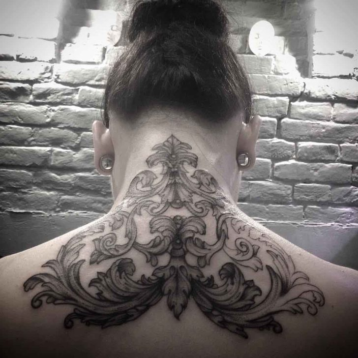 baroque tattoo on back of neck