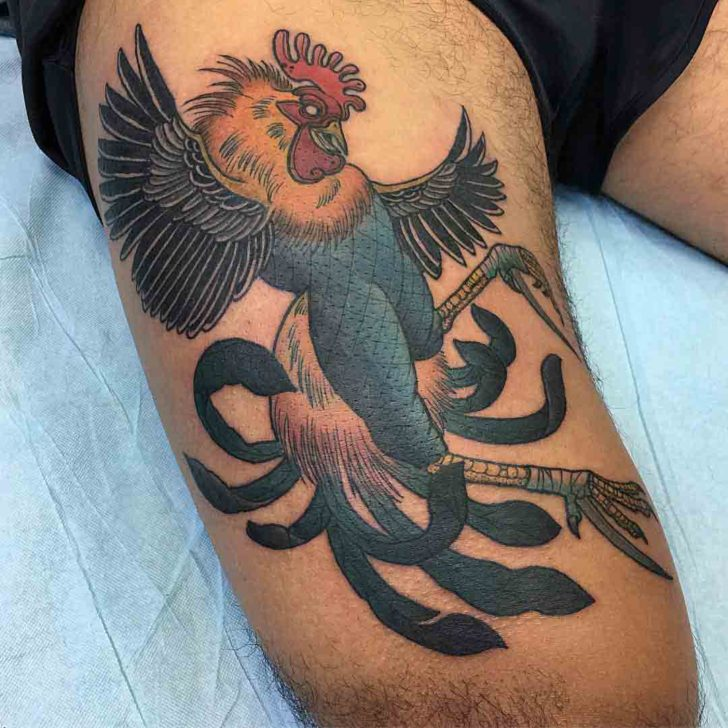 thigh tattoo rooster
