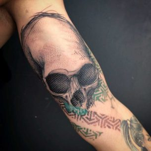 Colorful Skull Tattoo on Bicep