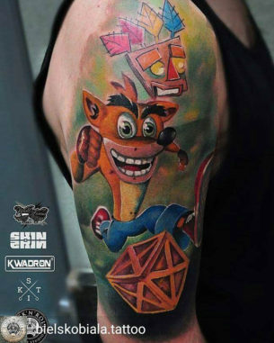 Crash Tattoo on Shoulder