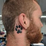 Dog Paw Tattoo Behind Ear