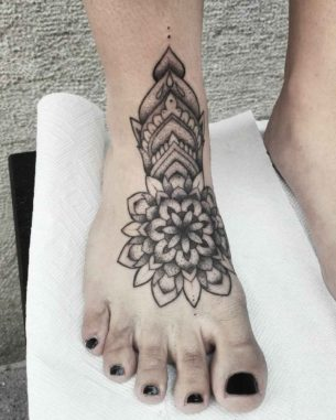 Dotwork Mandala Tattoo on Foot