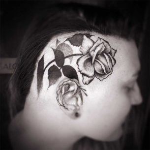 Dotwork Rose Tattoo on Head
