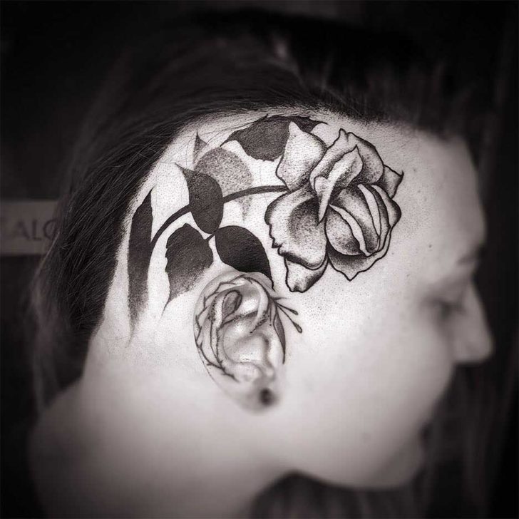 head tattoo rose dotwork
