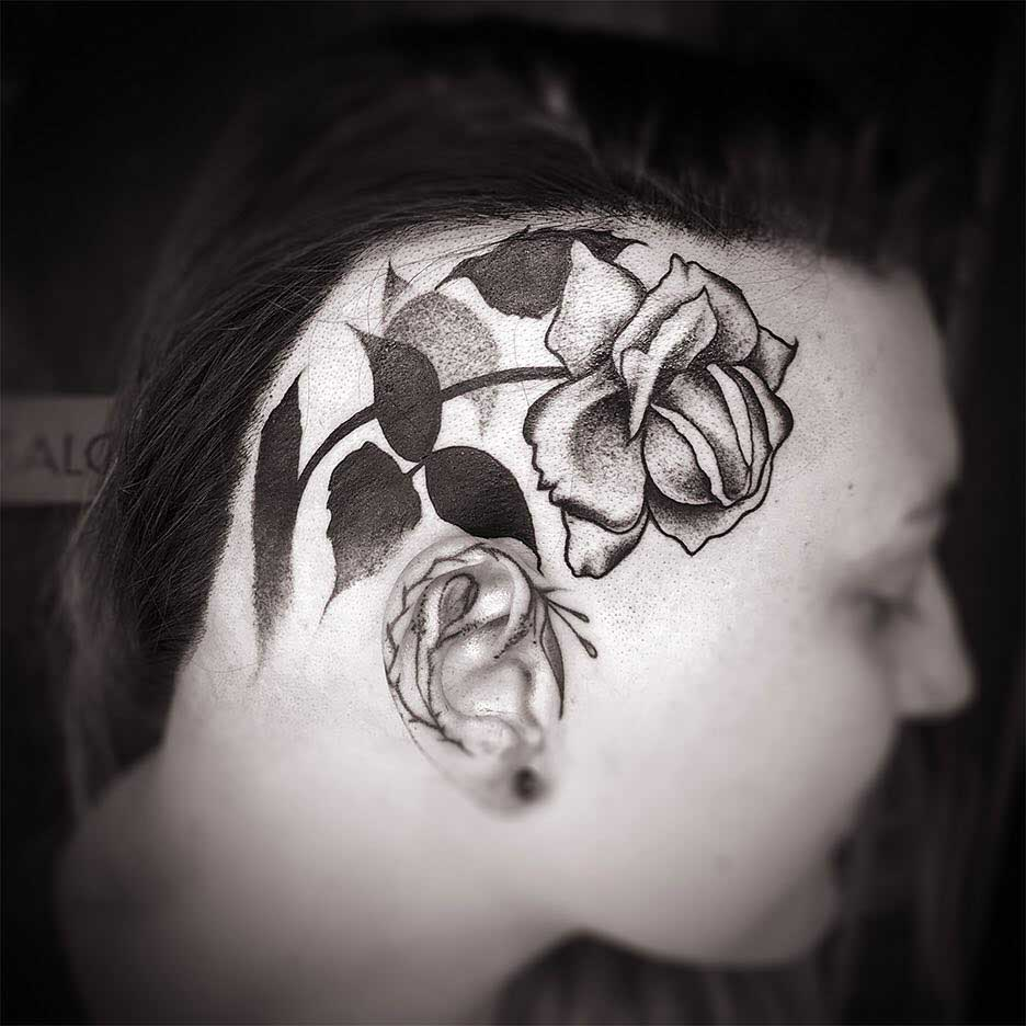 head tattoo rose dotwork
