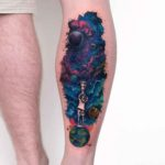 Exploration of Space Tattoo on Calf
