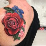 Floral Tattoo on Shoulder Blade