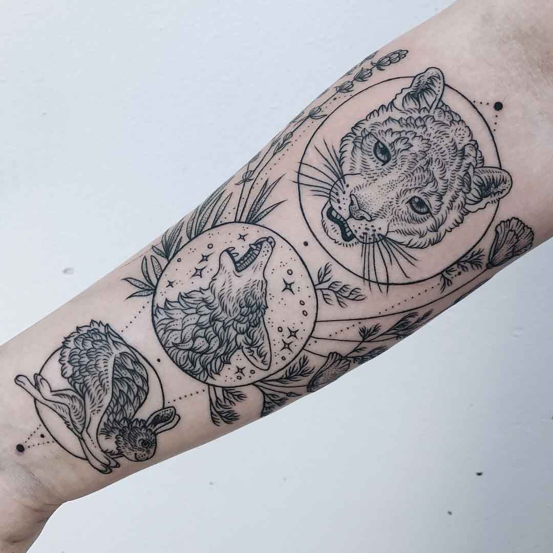 arm tattoo animals of food chain