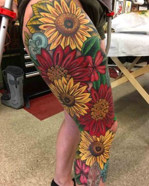 Full Leg Sleeve Tattoo Flowers