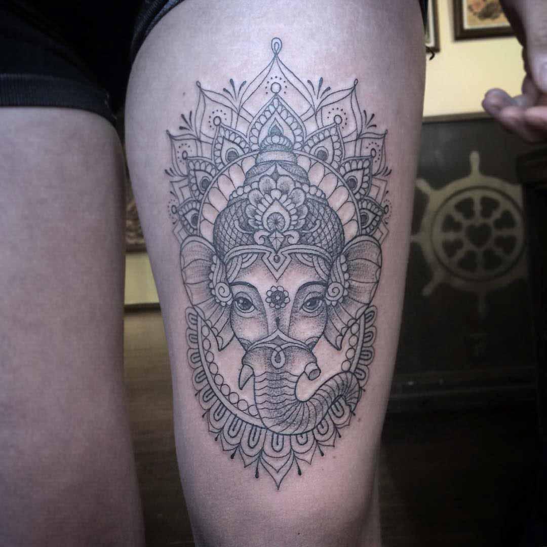 thigh tattoo ganesha