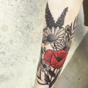 Poppy and Daisy Tattoo on Arm