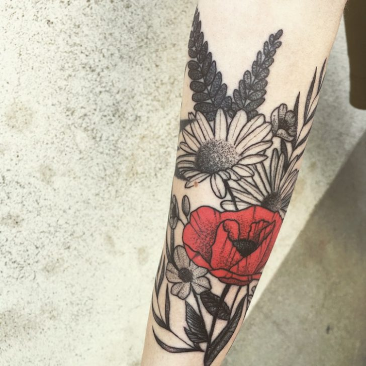 Poppy And Daisy Tattoo On Arm Best Tattoo Ideas Gallery