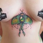 Jade Moth Tattoo Underbreast