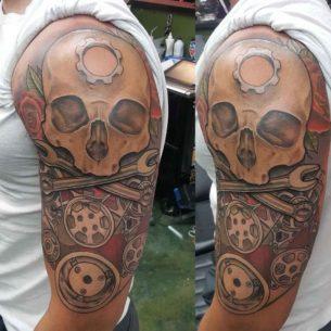 Mechanic Skull Tattoo on Shoulder