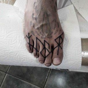 Runes Tattoos on Toes