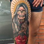 Santa Muerte Tattoo on Thigh