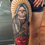 Santa Muerte Tattoo on Thigh
