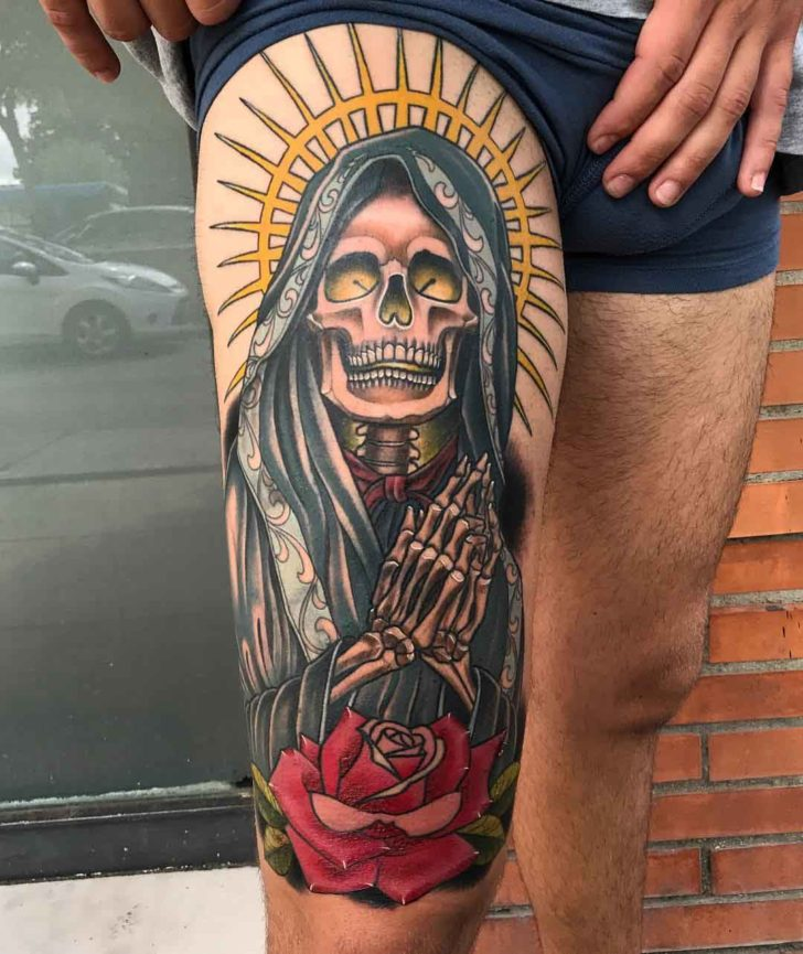 santa muerte tattoo on thigh best tattoo ideas gallery