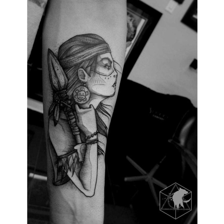 arm tattoo indian warrior girl tattoo